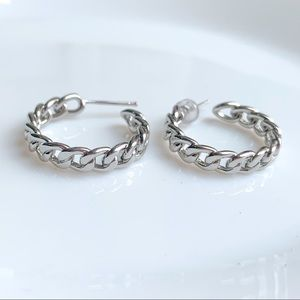 Jewelry - SILVER HOOP EARRINGS CHAIN HOOPS